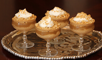 Peanut Butter Mousse with Praline Sauce