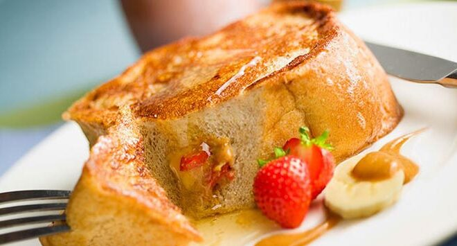 Peanut Butter & Fruit Stuffed French Toast