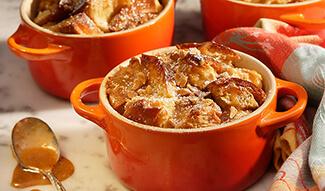 Peanut Butter Breakfast Bread Pudding with Maple Peanut Sauce
