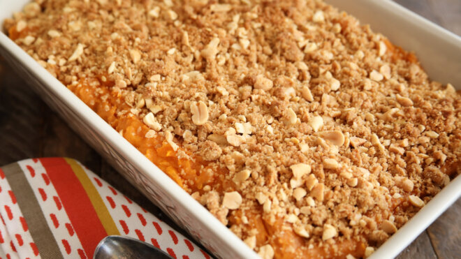Peanut Butter Sweet Potato Casserole with Peanut Streusel Topping
