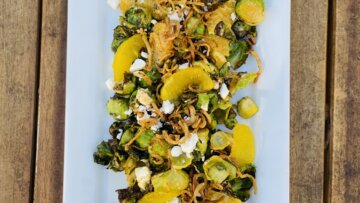 Brussels Sprouts with Peanut Chipotle Vinaigrette