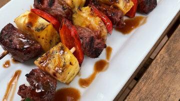 Steak and Pineapple Skewers with a Peanut Chai Vinaigrette